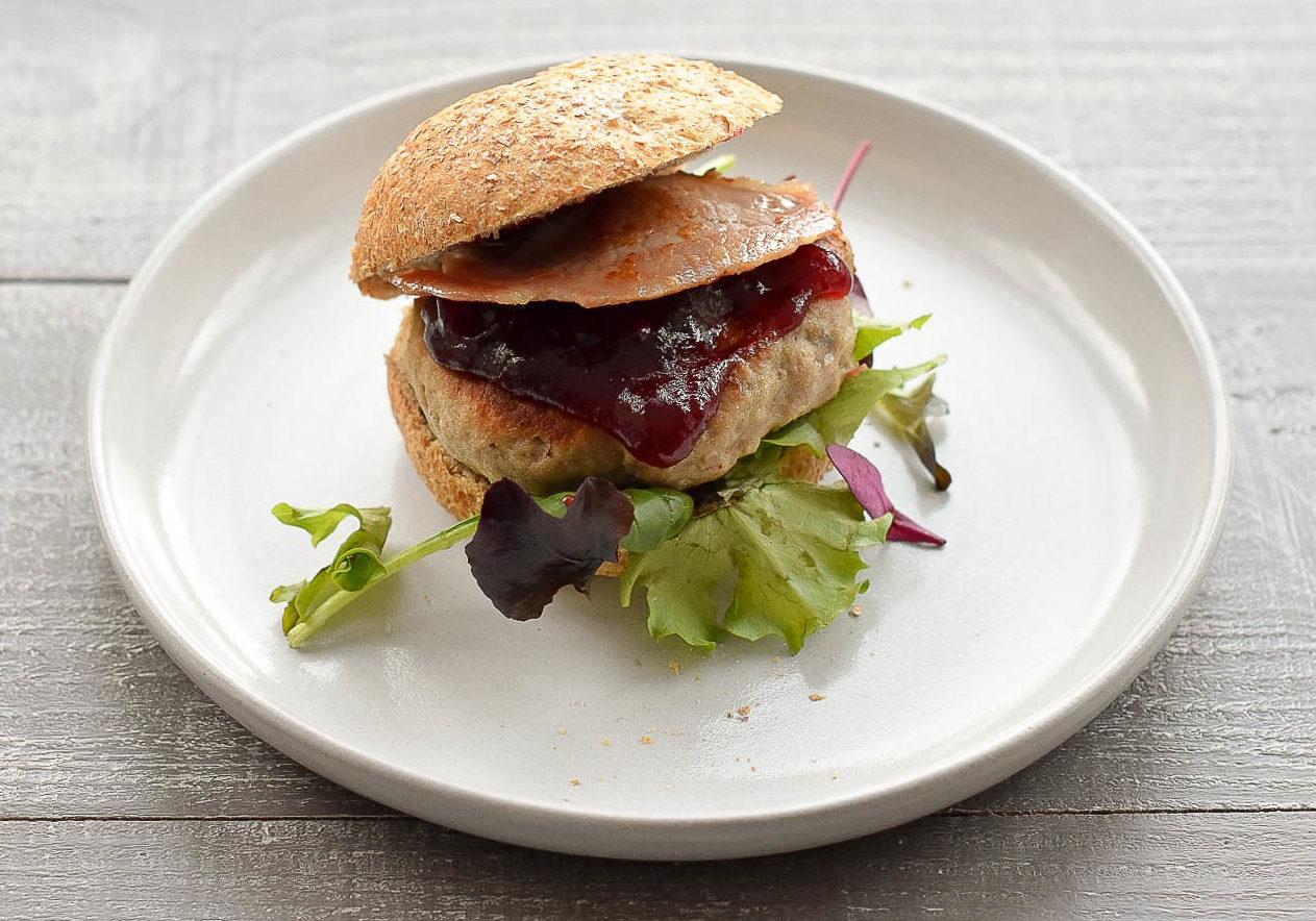 Turkey & Cranberry Burger in bap